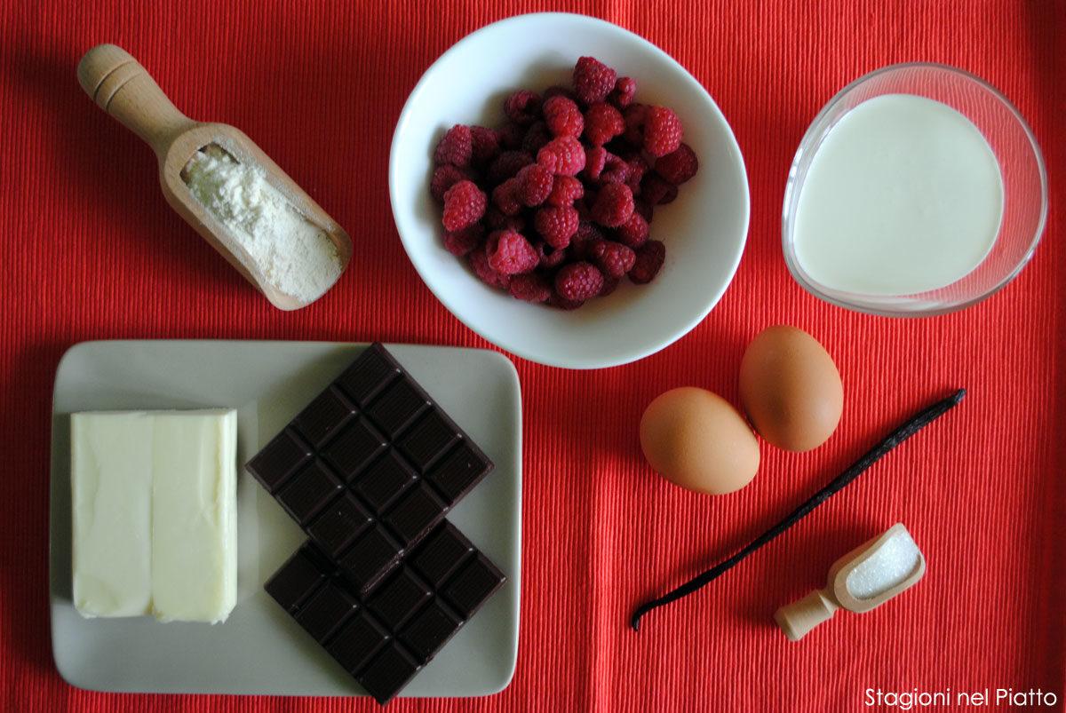 Ingredienti crostata cioccolato e lamponi