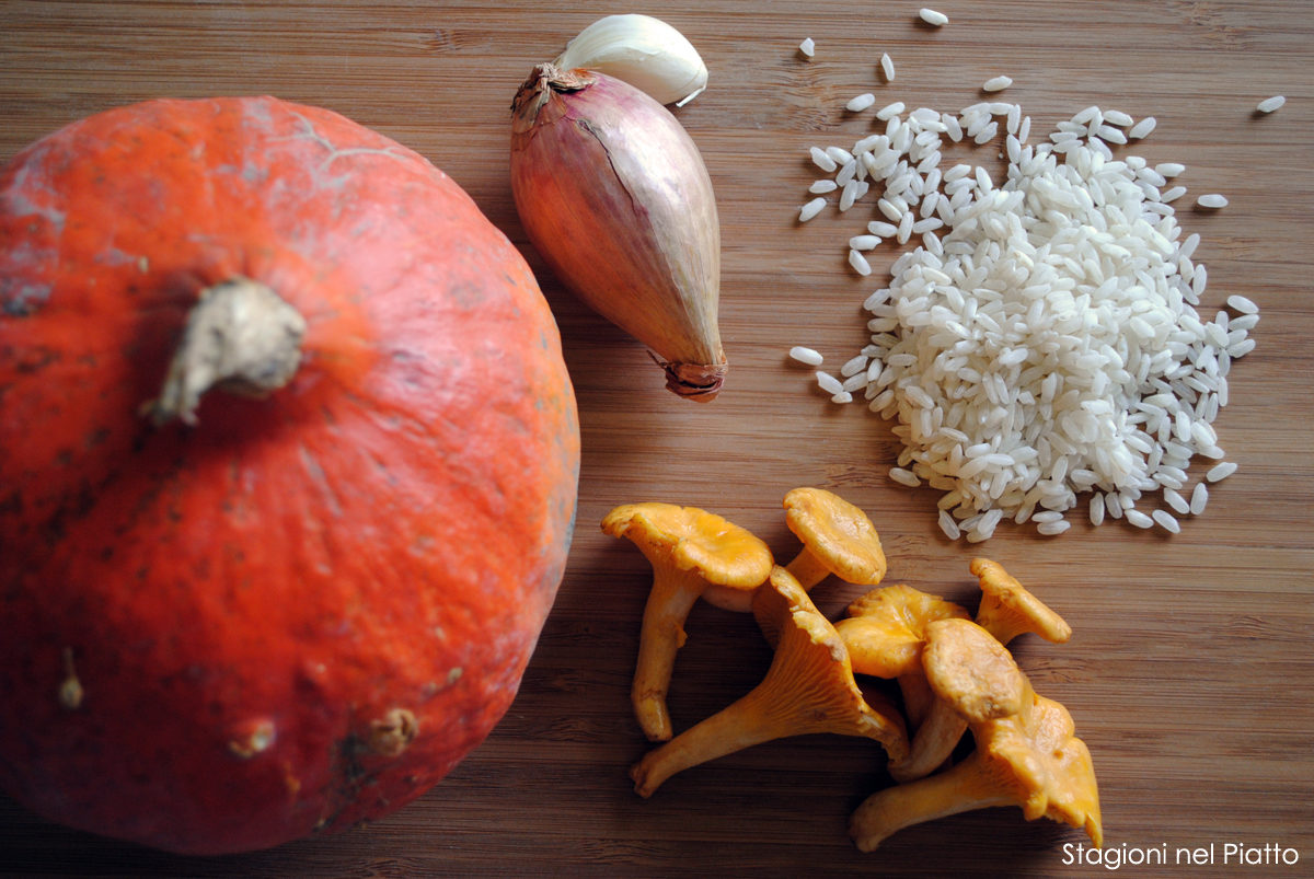 Ingredienti risotto di zucca e finferli