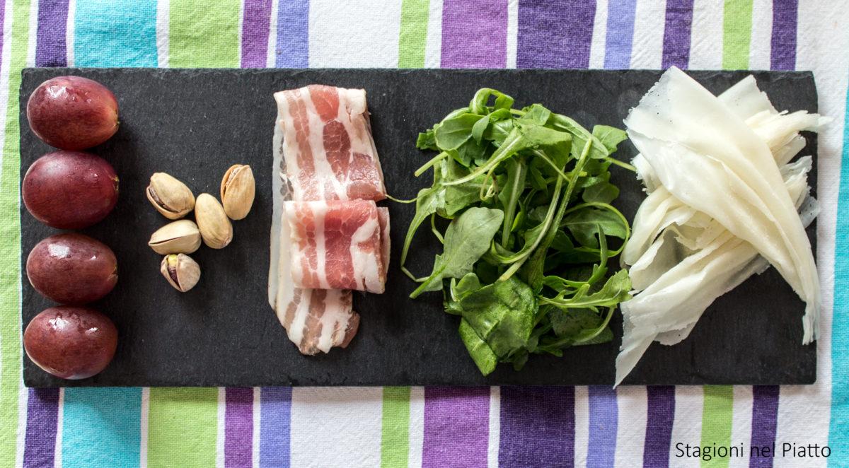 ingredienti insalata di rucola uva e raspadura