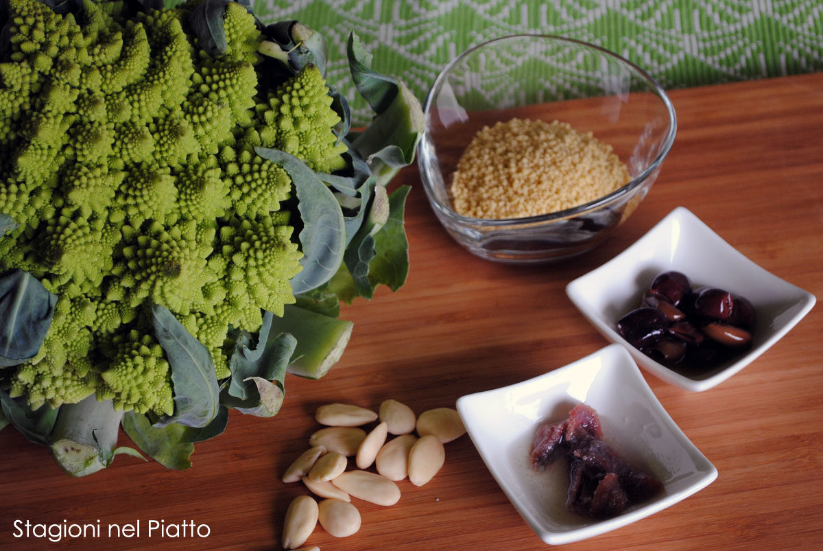 Ingredienti cous cous al broccolo romanesco e mandorle
