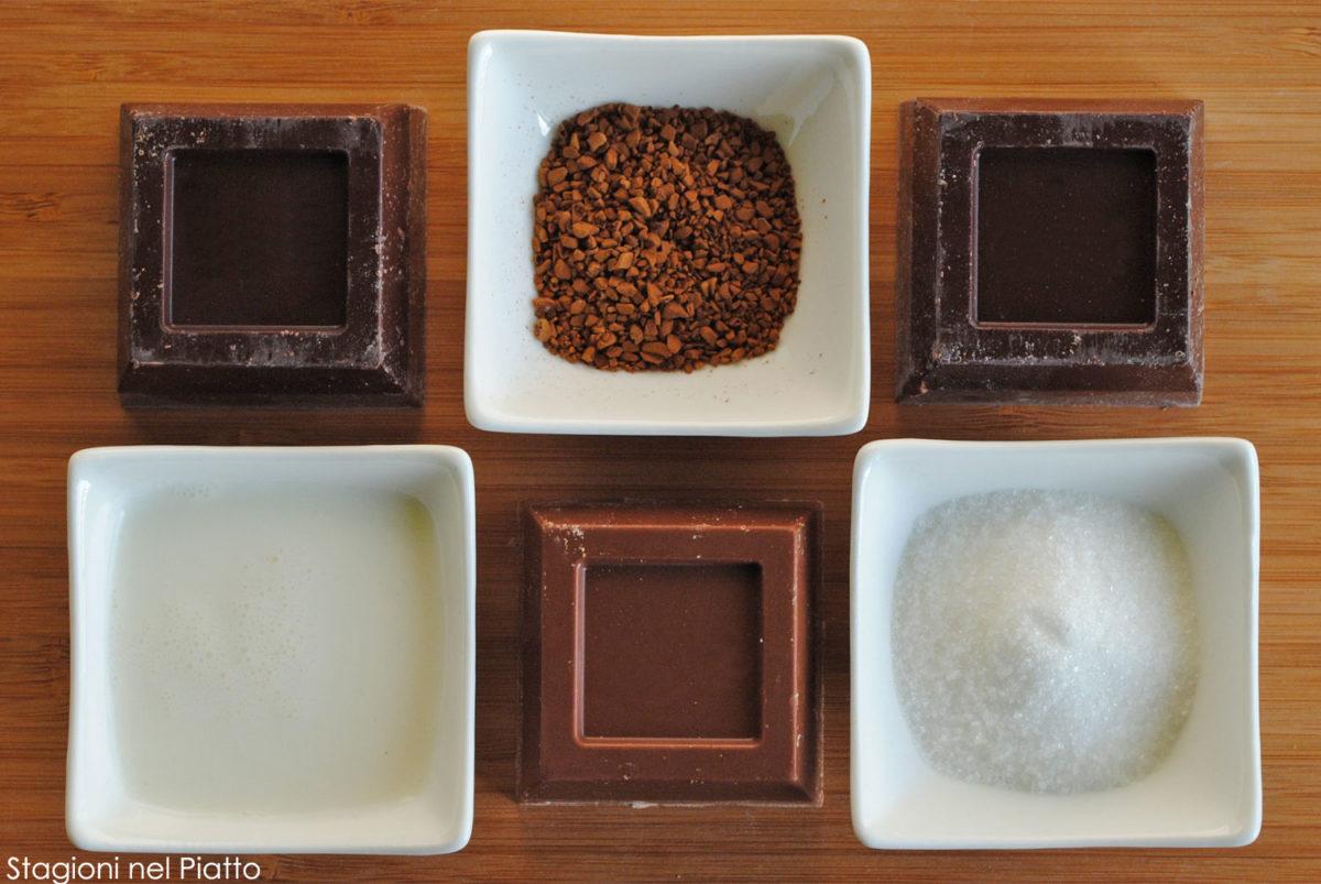 Ingredienti mousse al cioccolato e caffè