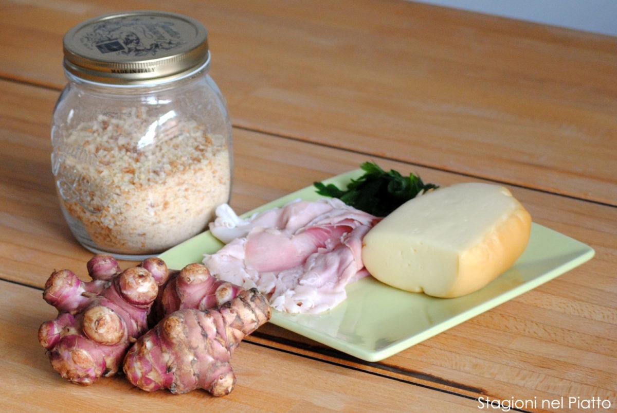 Ingredienti tortino di topinambur con prosciutto e provola
