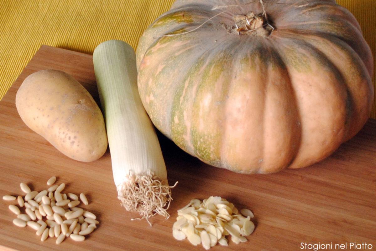 Ingredienti vellutata di zucca con madorle tostate