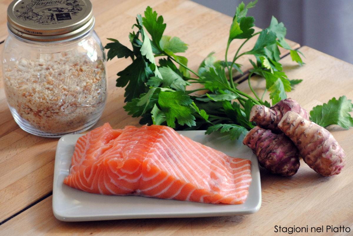 Ingredienti salmone al forno in crosta topinambur
