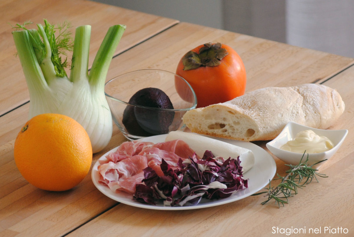 Ingredienti tris di tartine di stagione