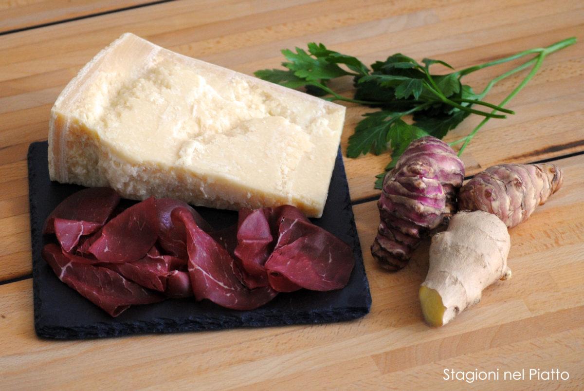 Ingredienti bresaola con topinambur e zenzero