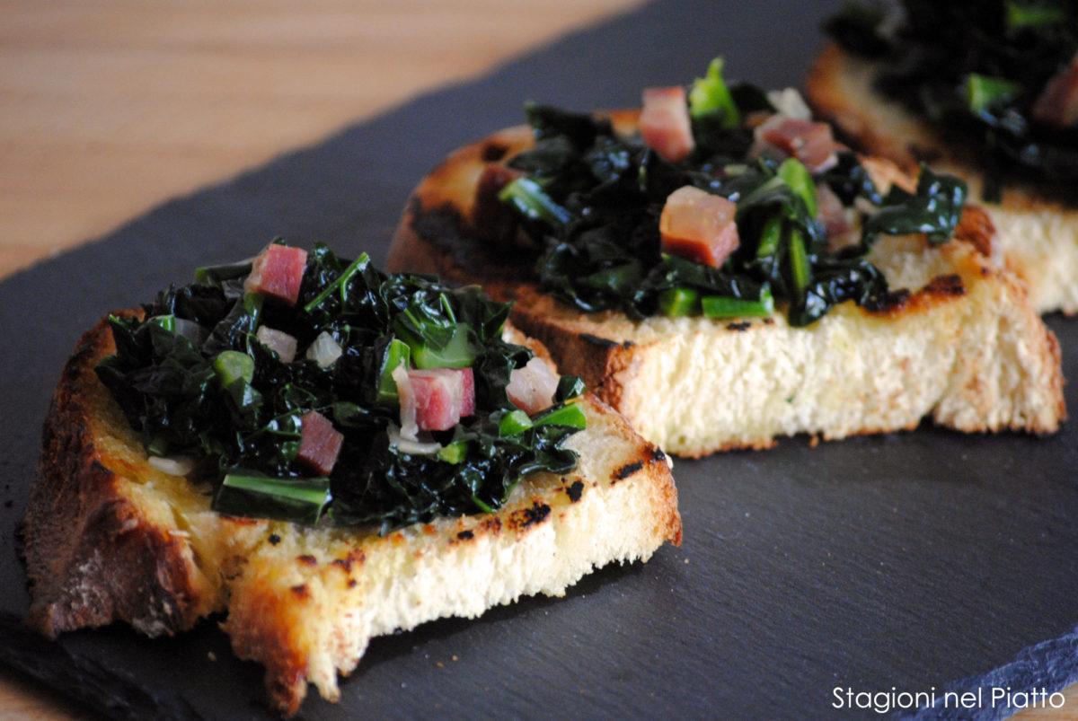 Bruschetta con cavolo nero stufato e pancetta