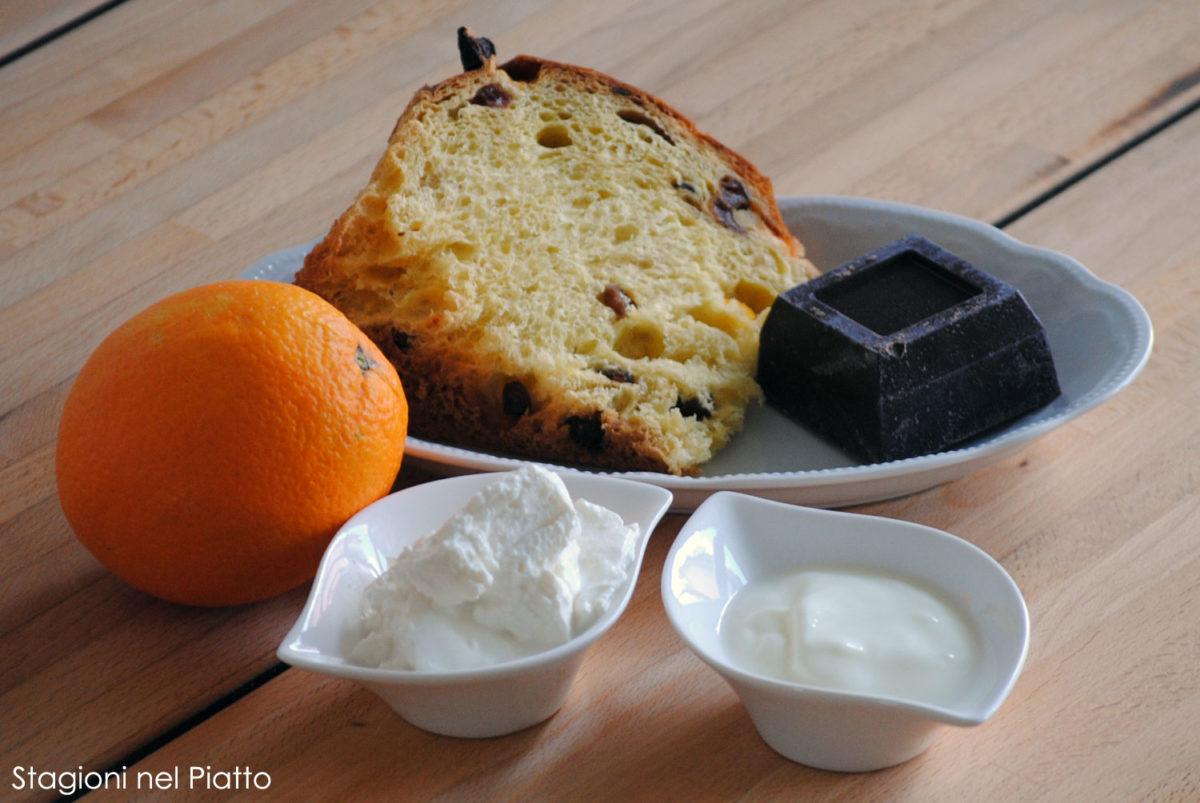 Ingredienti dessert di panettone con crema all'arancia