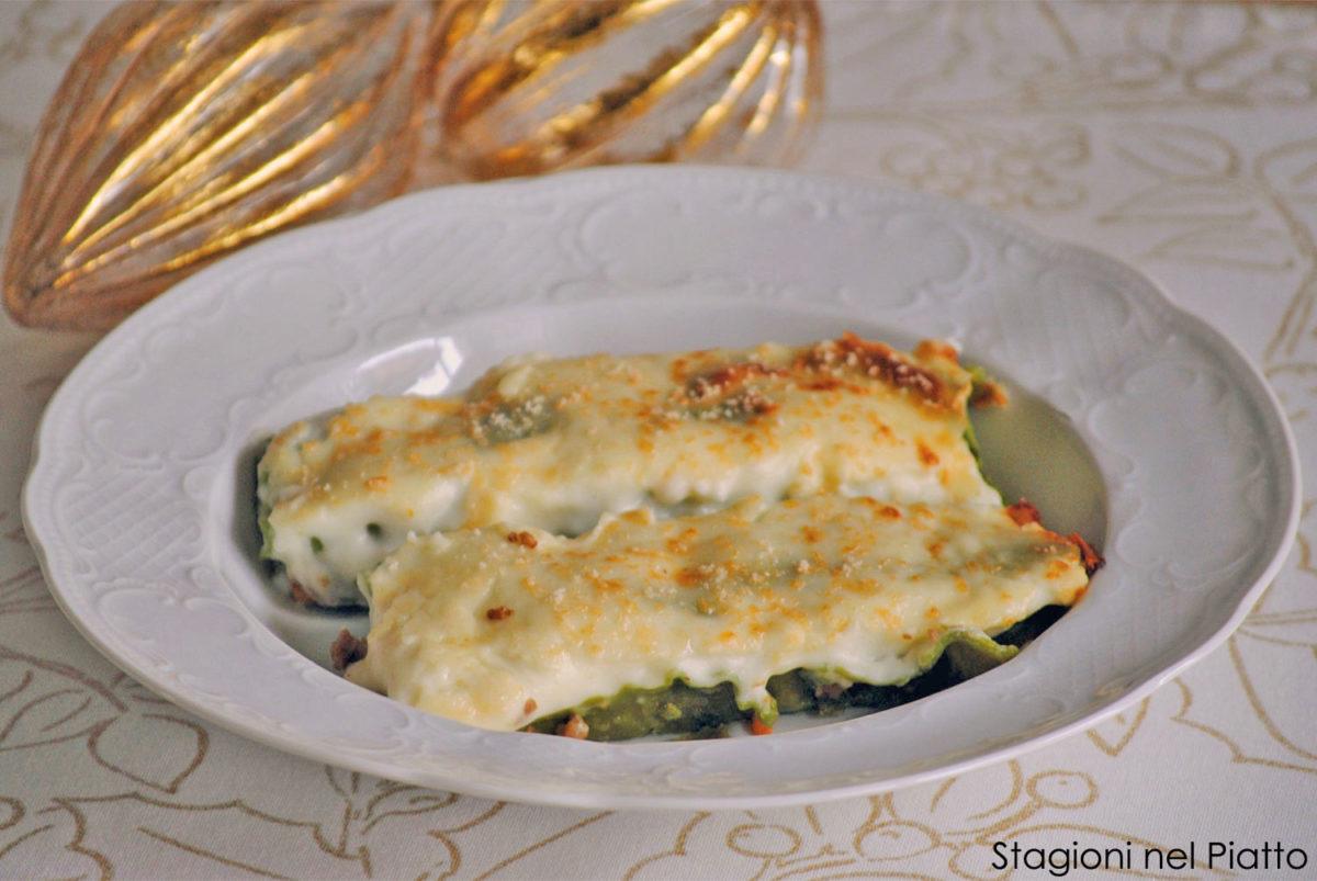 Cannelloni verdi con carne e funghi