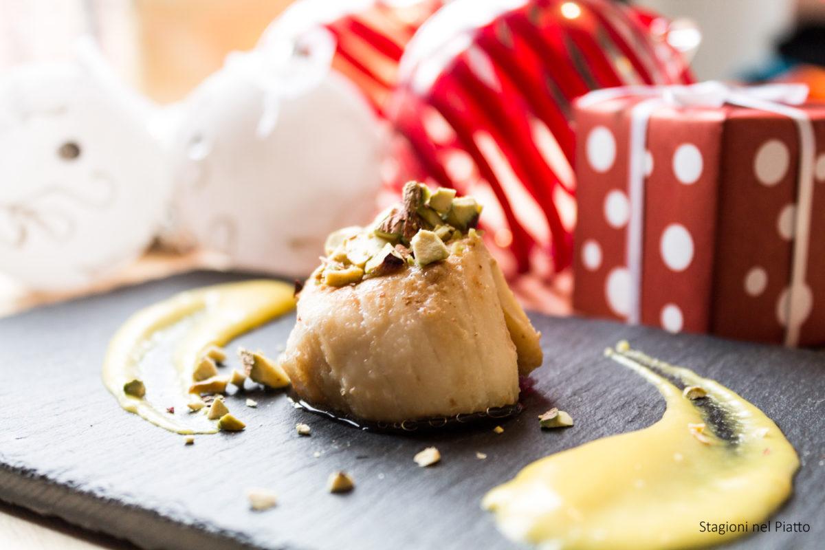 capesante allo zafferano con granella di pistacchi