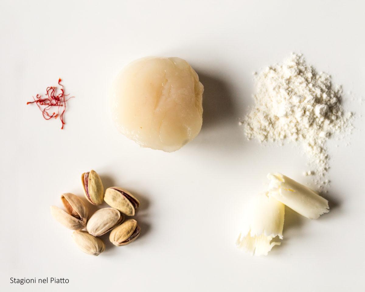 ingredienti capesante allo zafferano con granella di pistacchi