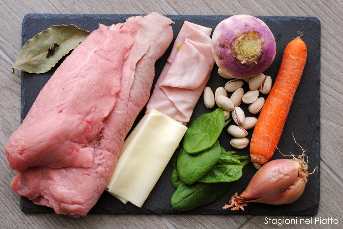 Ingredienti arrosto farcito di mortadella e spinaci