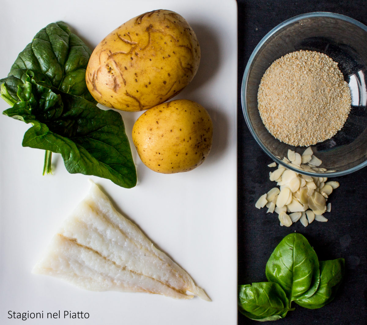 ingredienti millefoglie delicata di baccalà