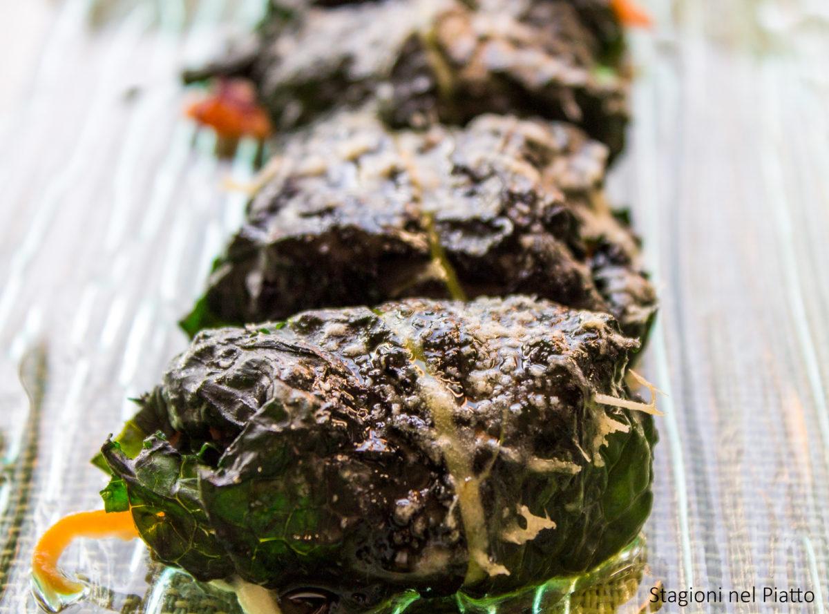 involtini vegetariani di cavolo nero