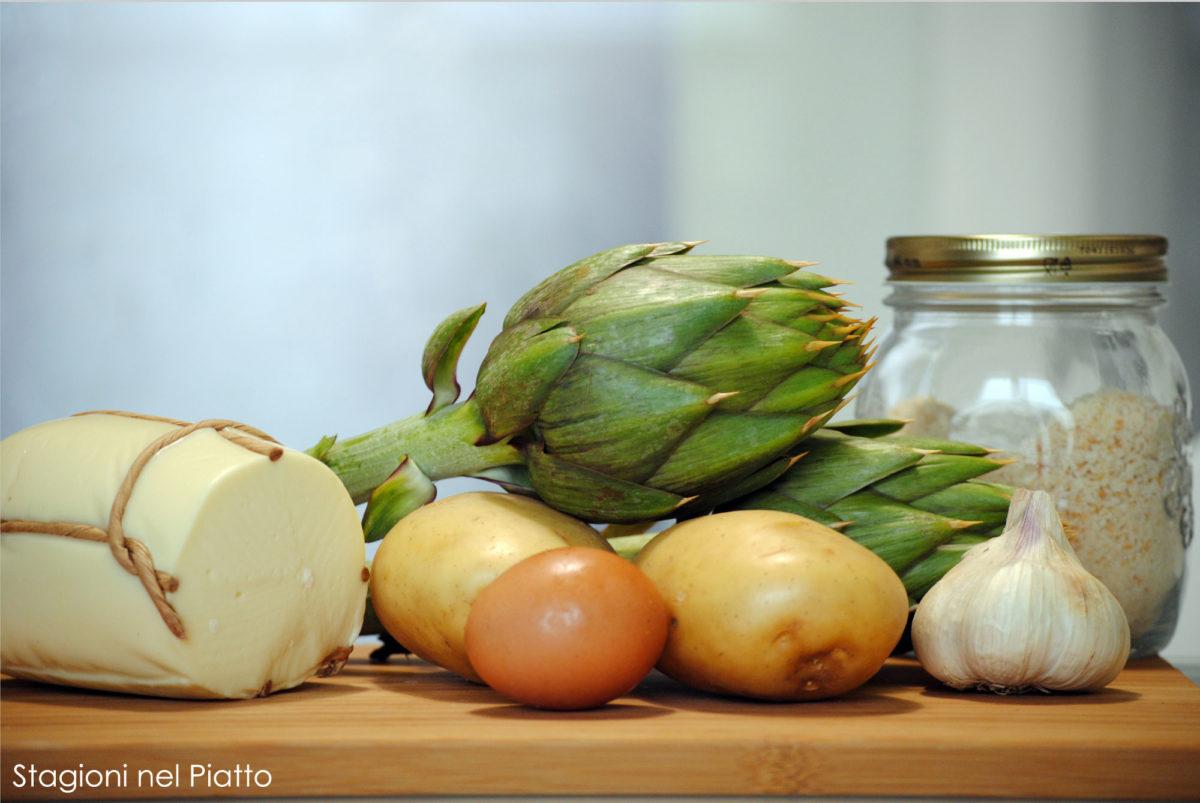 Ingredienti tortino di patate e carciofi