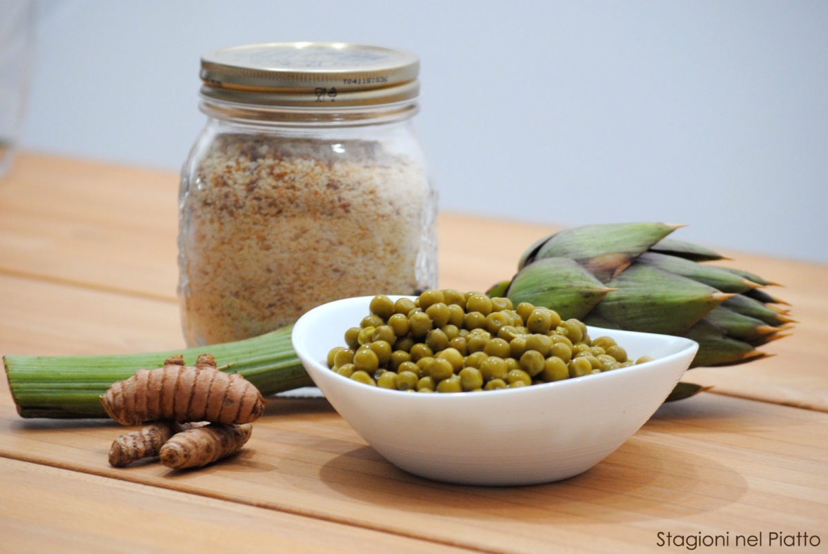 Ingredienti carciofi ripieni di piselli e curcuma