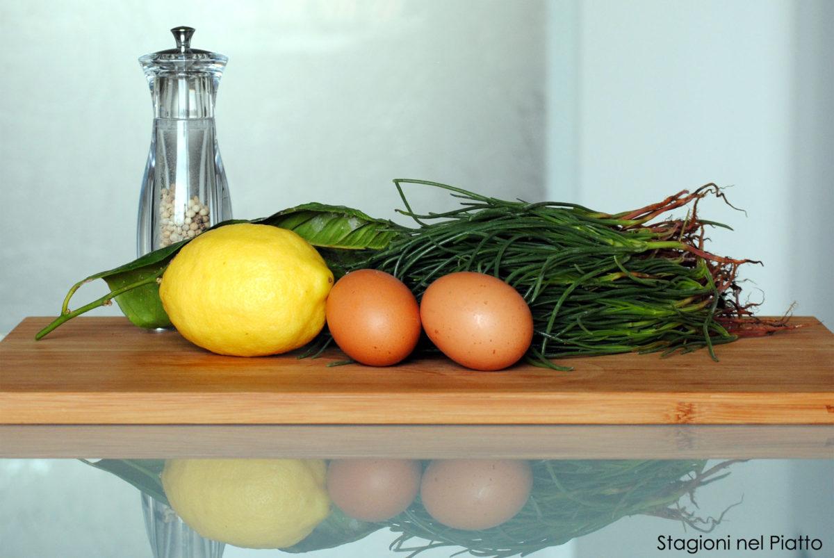 Ingredienti omelette con agretti al profumo di limone