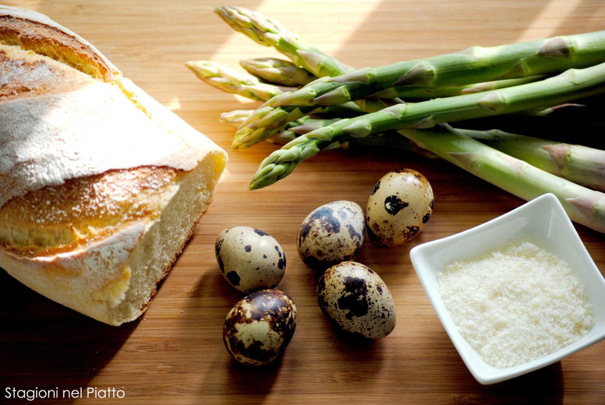 Ingredienti tartine con asparagi e uova di quaglia