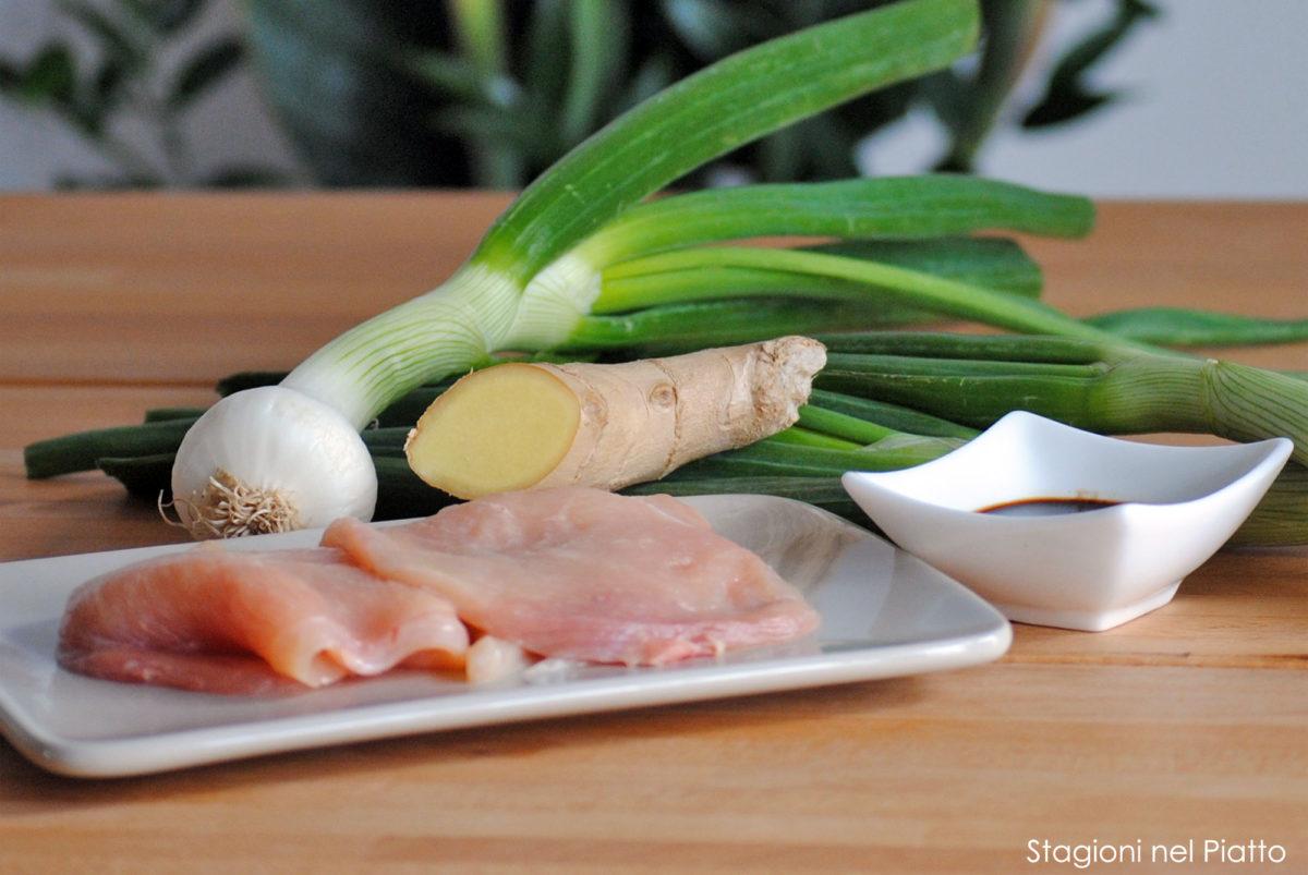 Ingredienti pollo cipollotti e zenzero
