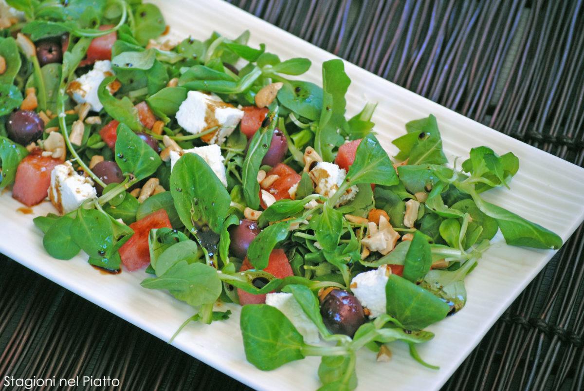 Insalata di anguria quartirolo e olive
