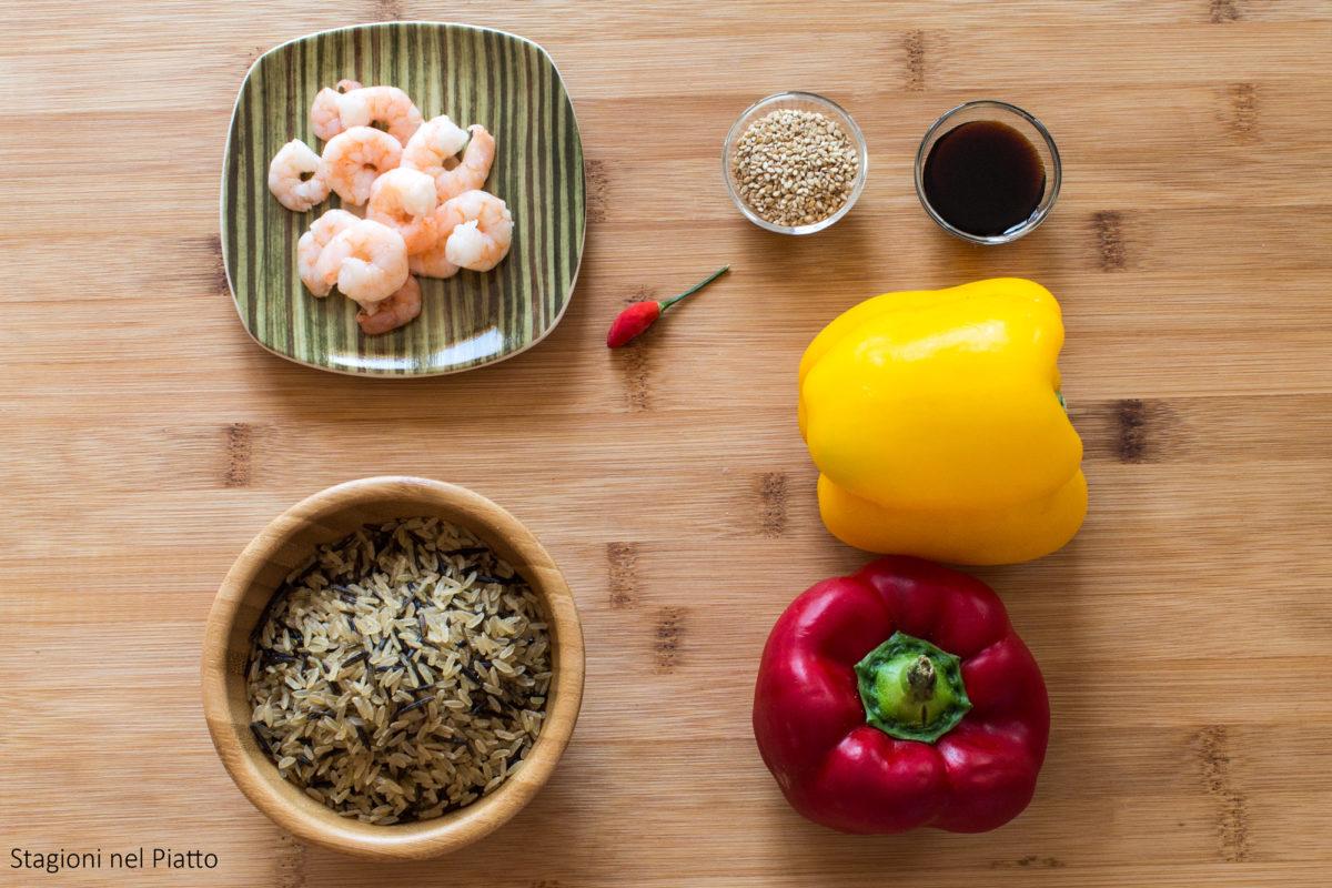 ingredienti insalata di riso integrale con peperoni