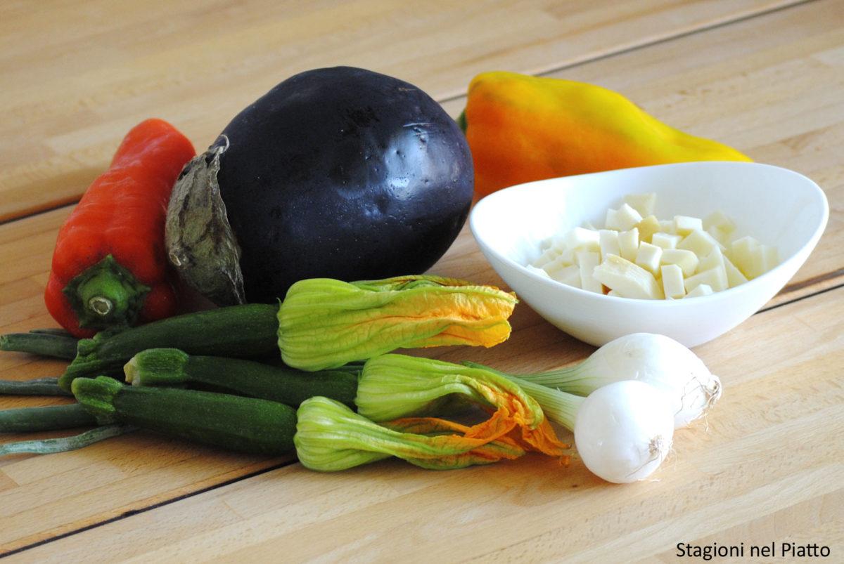 Ingredienti torta salata alle verdure estive