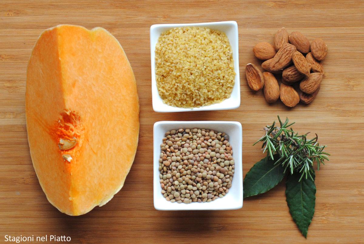 Ingredienti bulgur con lenticchie e crema di zucca