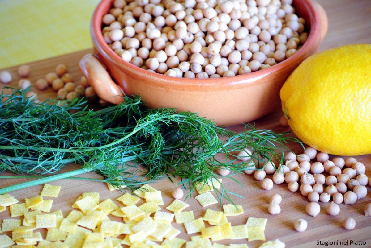 Ingredienti pasta e ceci al profumo di finocchietto selvatico e limone