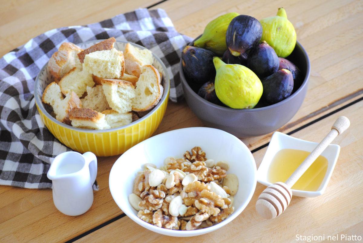 Ingredienti torta di pane con fichi e frutta secca