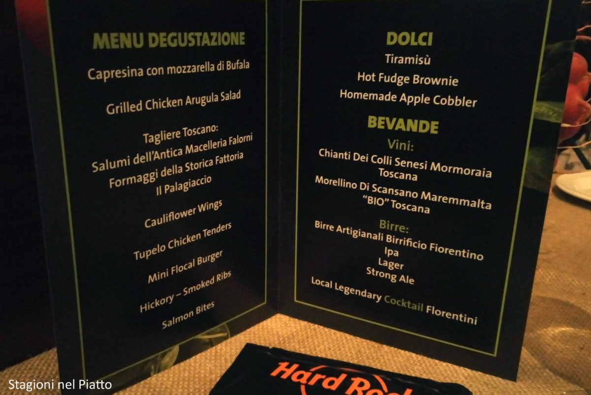 Menu Test Kitchen Hard Rock Cafe Firenze