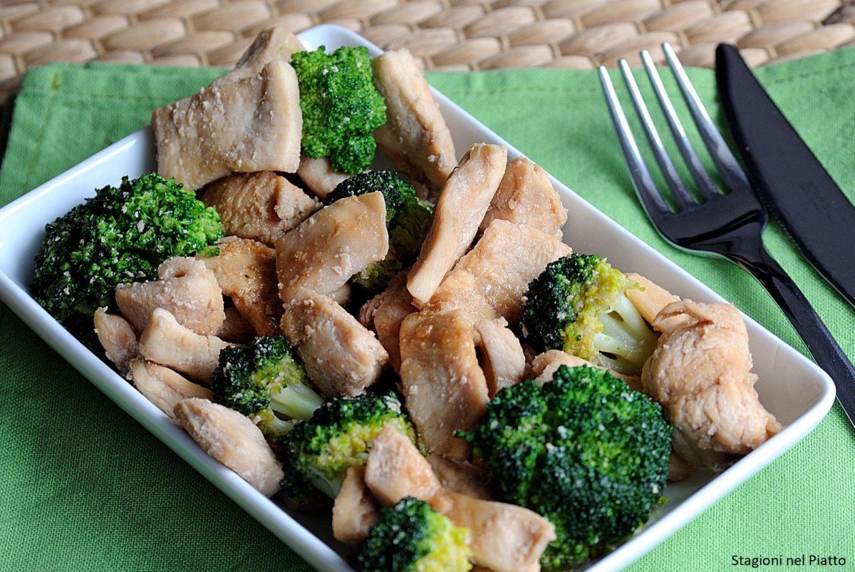 Pollo marinato al miele con broccoli croccanti