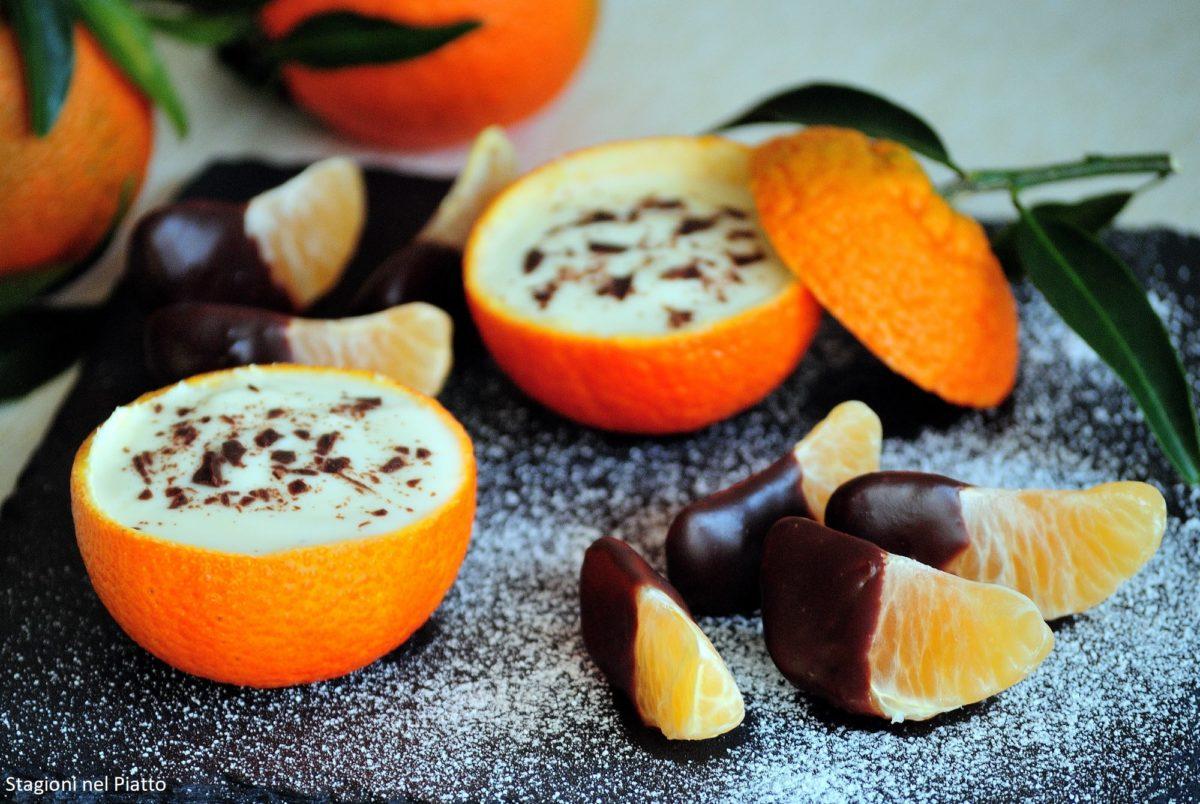 Mandarini ripieni di yogurt e cioccolato