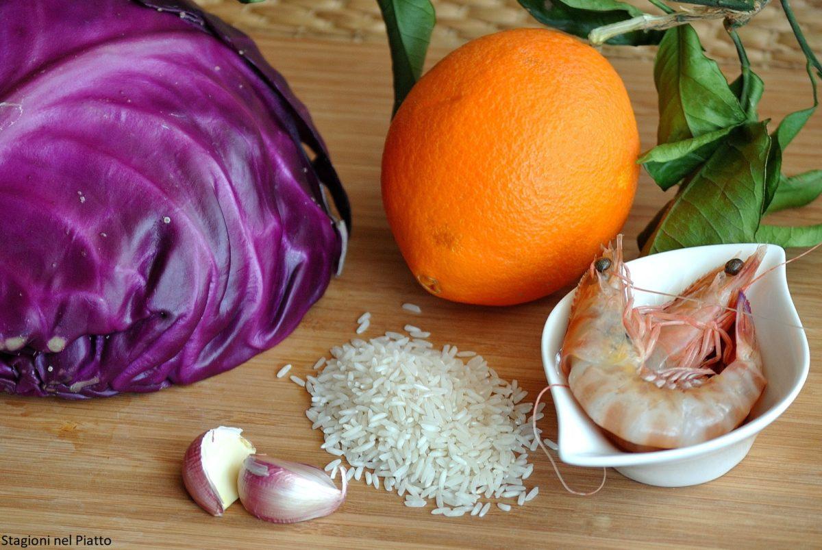 Ingredienti riso basmati con gamberi, cavolo rosso e salsa di arance