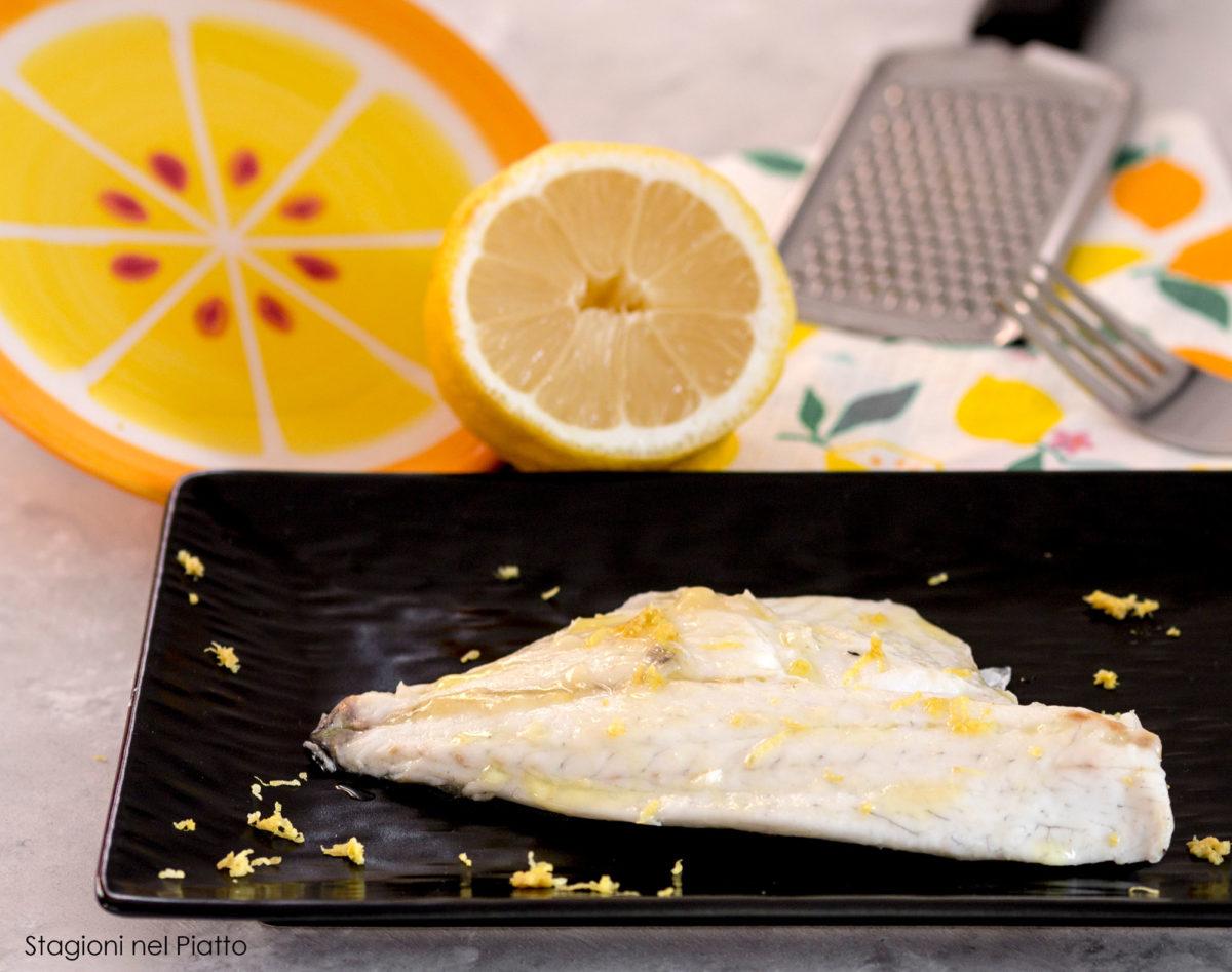 Filetti di orata al limone stagioni nel piatto
