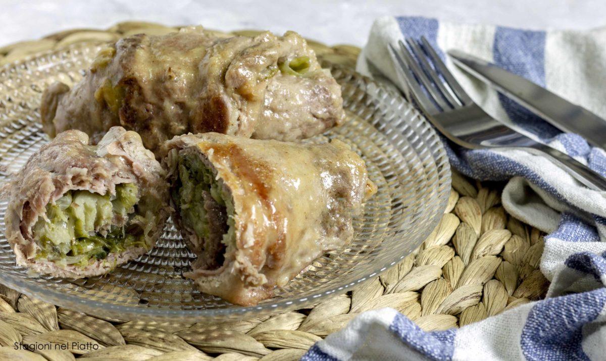 Involtini scarola prosciutto stagioni nel piatto