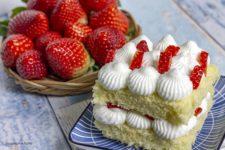 Monoporzione alle fragole con crema allo yogurt stagioni nel piatto