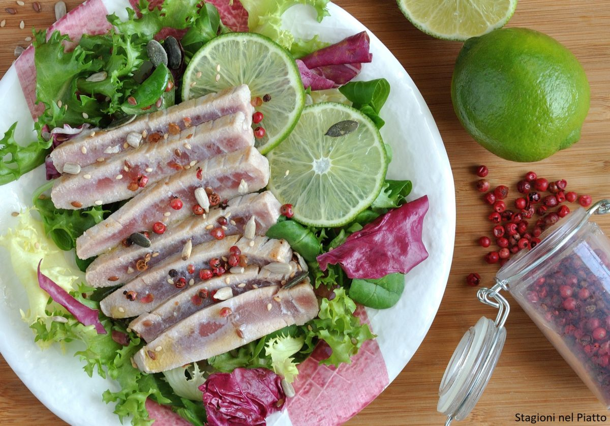 Tagliata di tonno con lime e pepe rosa