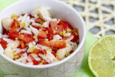 Insalata di riso con peperoni, cannellini e lime