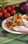 panzanella con calamari alla griglia