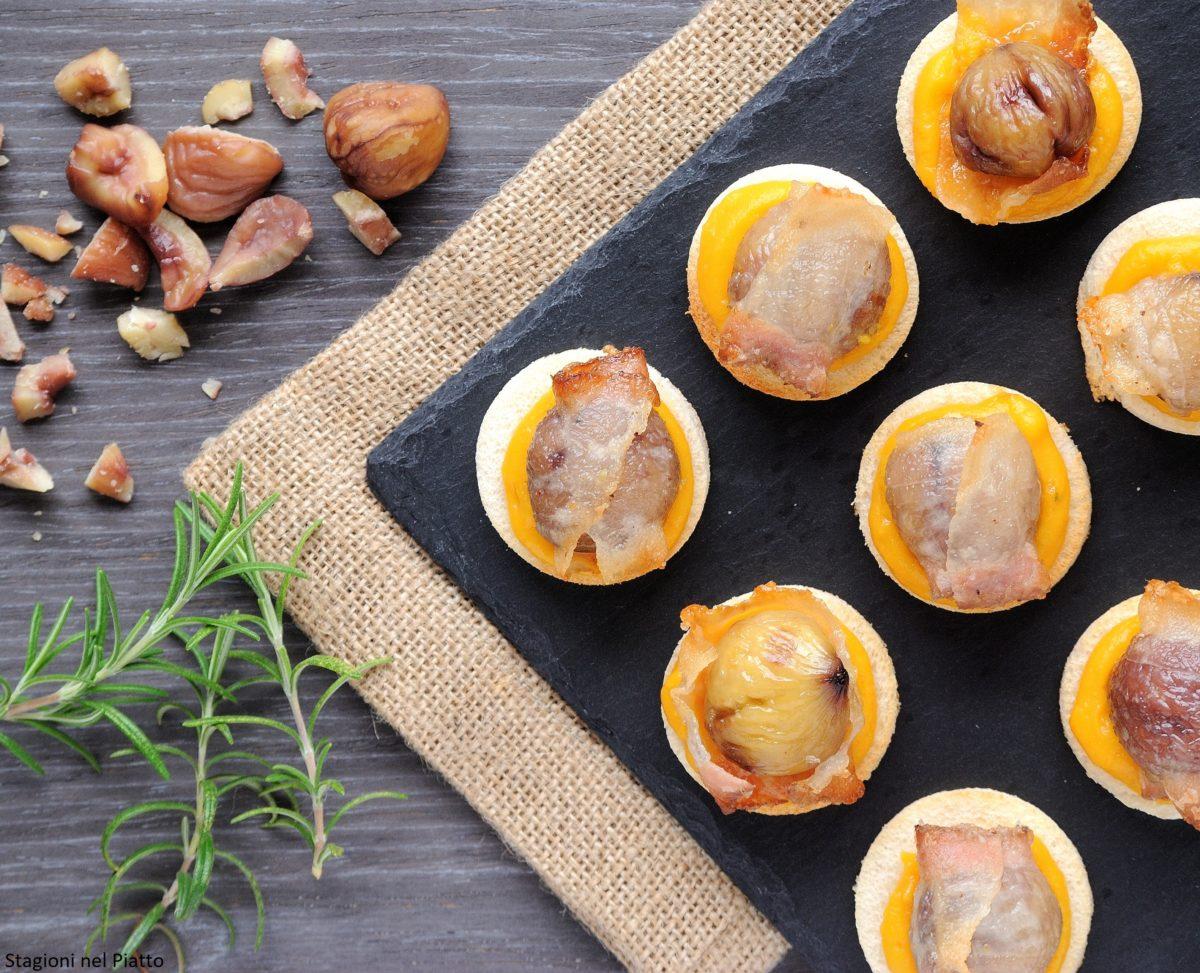 crostini con lardo, castagne e zucca