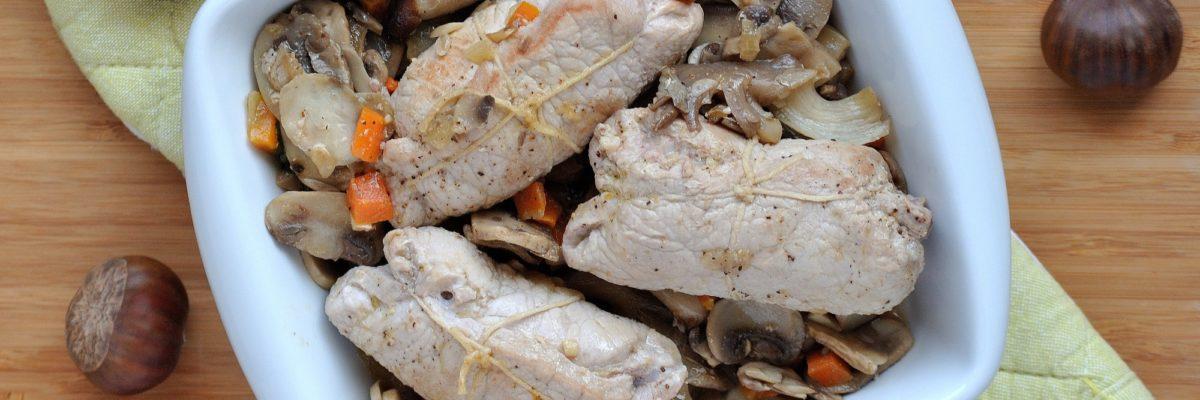 Involtini di maiale con castagne e funghi