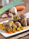 fagottini di carpaccio ai porri e carote