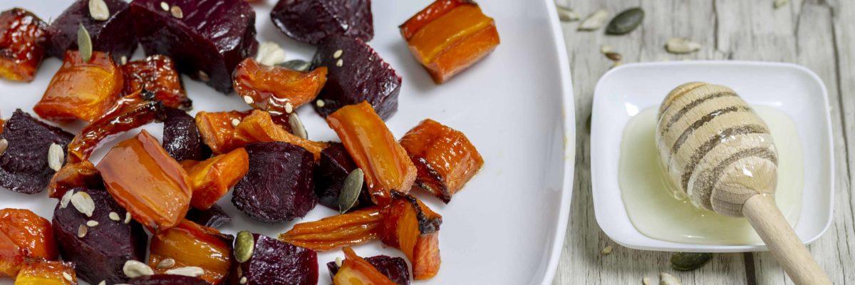 Barbabietole e carote glassate al miele