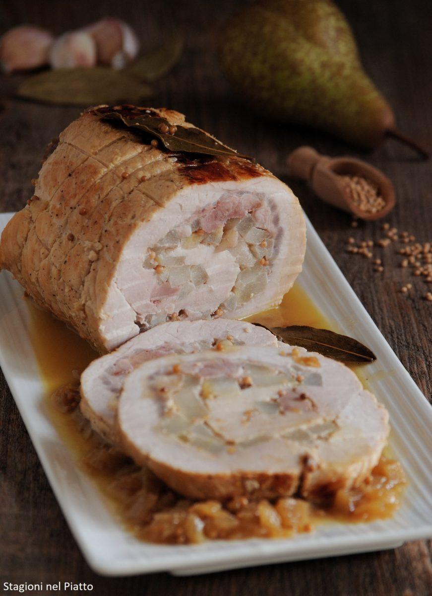 arrosto di lonza di maiale alle pere e senape