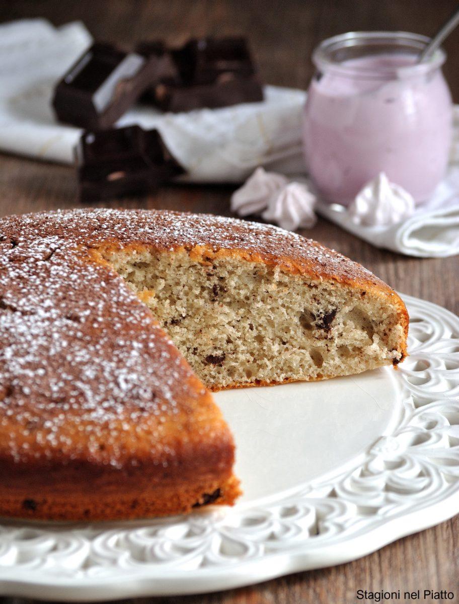 torta soffice allo yogurt di mirtilli e cioccolato