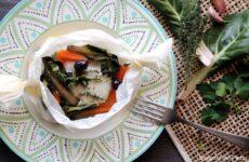 rana pescatrice al cartoccio con verdure di stagione