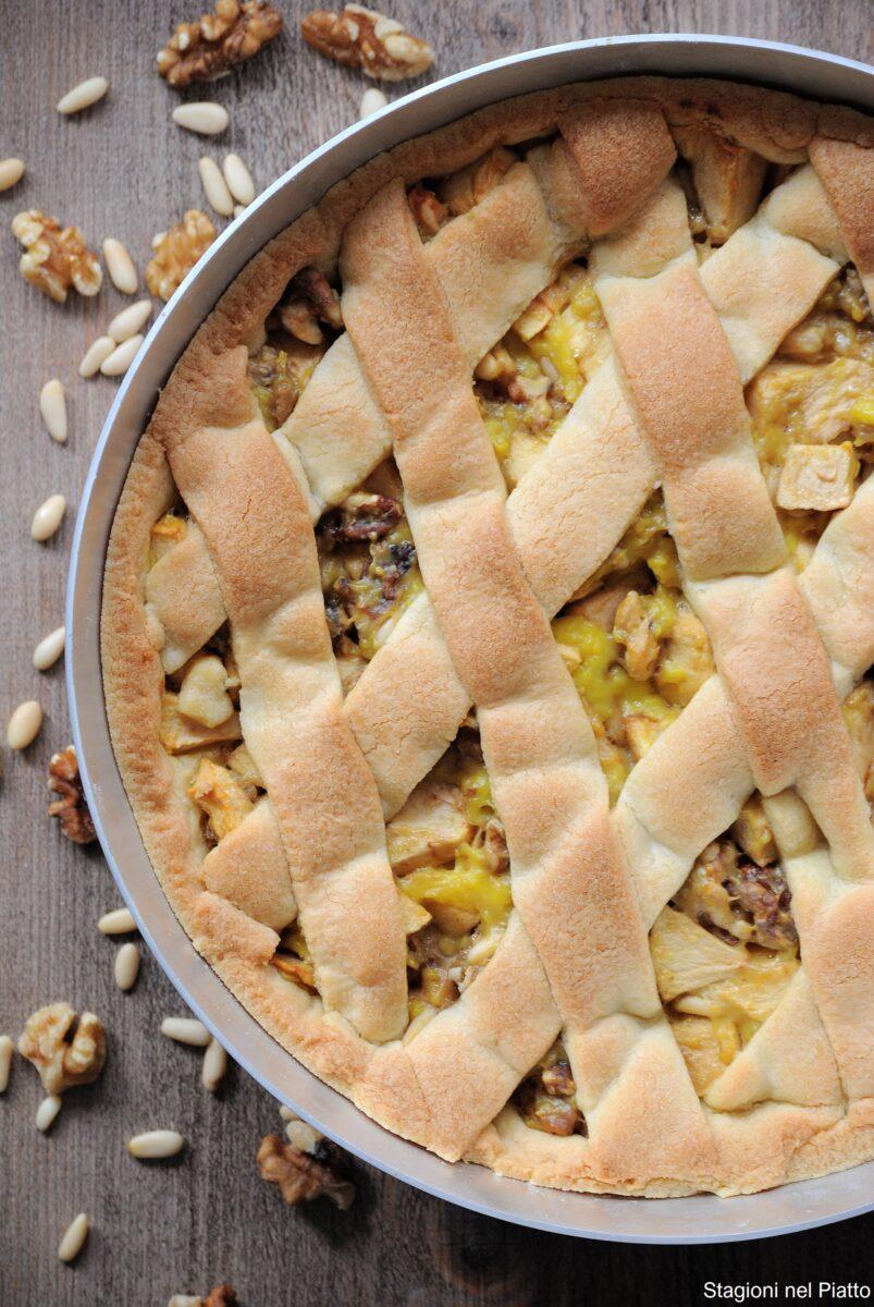 crostata di mele, noci  e crema allo zafferano