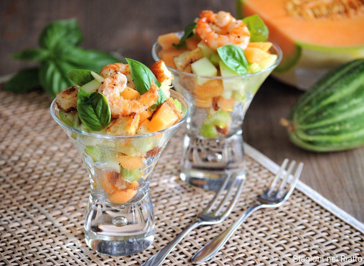 insalata di melone e gamberi