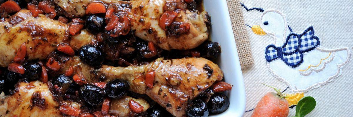 Cosce di pollo alla birra con olive nere